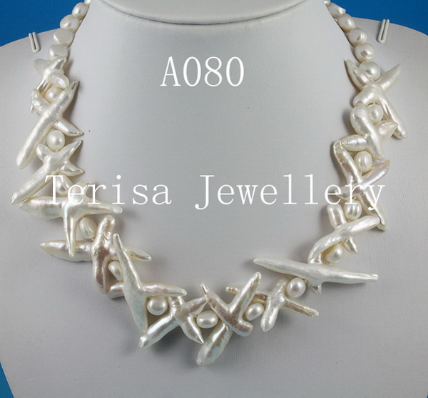 Genuine Pearl Jewelry White Color Cross Freshwater Pearl Necklace 7-30mm 18'' Fashion Lady's Wedding Party Gift Jewelry