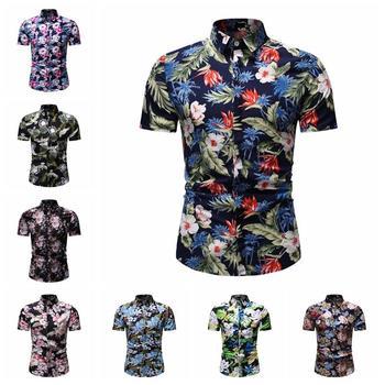 Casual Floral Mens Shirt Stay Summer Blouse Men Flower Hawaiian Style Beach Social for Dress Short sleeve