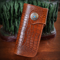 OLG YAT Italian Vegetable Tanned Cowhide Handmade Wallet Men Purse Long Hasp Handbag Crocodile Pattern Wallets