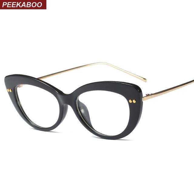 a528a7832e7 Peekaboo clear cat eye glasses frames for women 2019 black leopard fashion  transparent eyeglasses women lady half metal