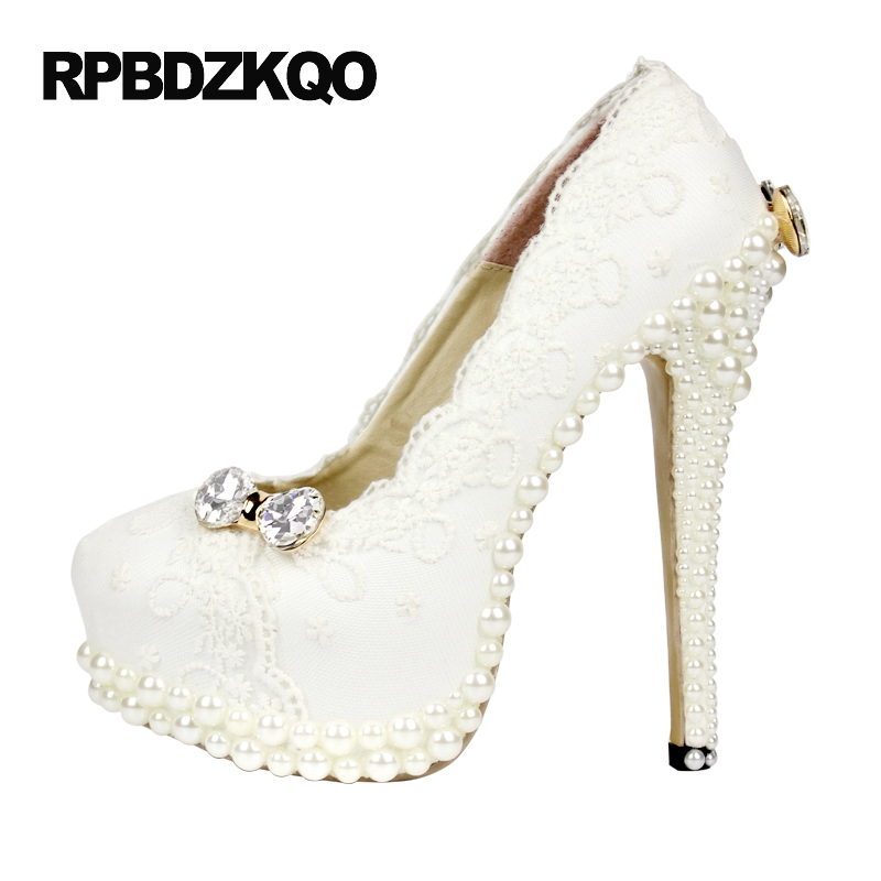 где купить  Bridal High Heels Plus Size Pumps Stiletto Crystal White Pearl Women Platform Lace Diamond Rhinestone Ivory Wedding Shoes 3 Inch  по лучшей цене