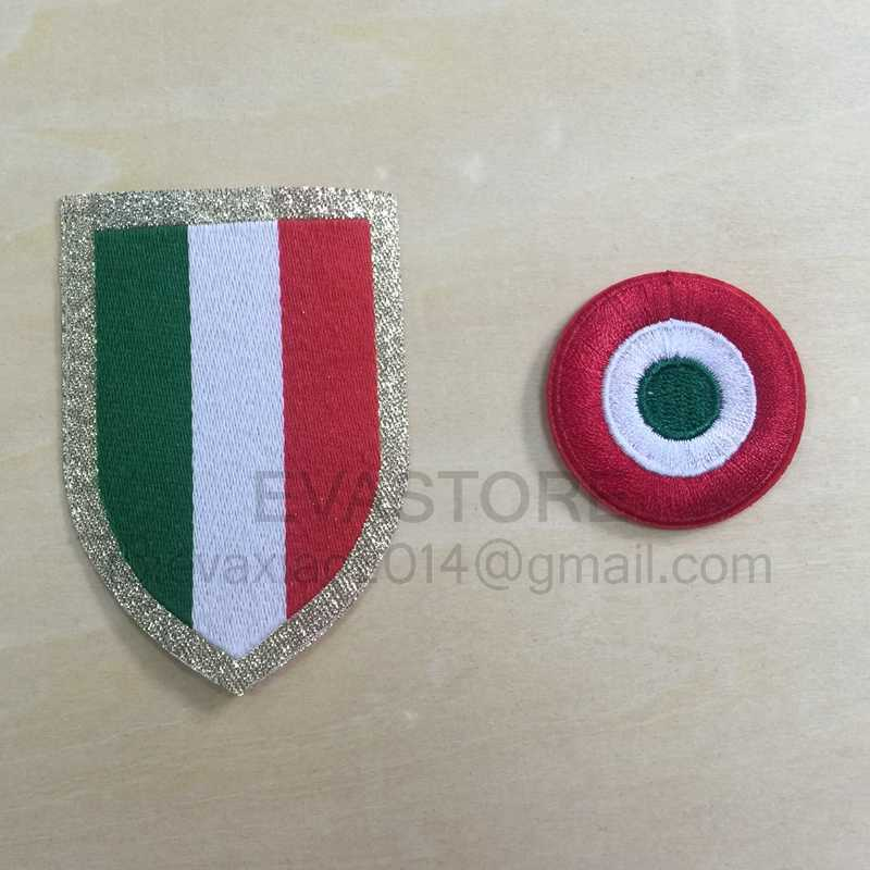 2 stks Italia Calcio patch 15-16 patch rode coppa Italia Cirkel Scudetto patch Scudetto + Italië Cup patches Serie