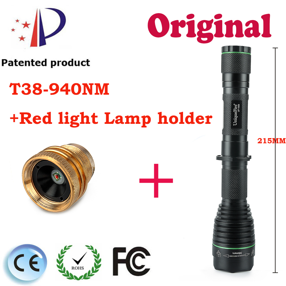Adjustable Focus Flashlight UF-1508 T38 IR940nm Powerful Infrared Led Flashlight 3 Modes with a Cree XRE Red Light Lamp Holder uniquefire t67 powerful flashlight uf 1504 cree xre led 3 modes 300 lumens green red white light waterproof lamp torch charger