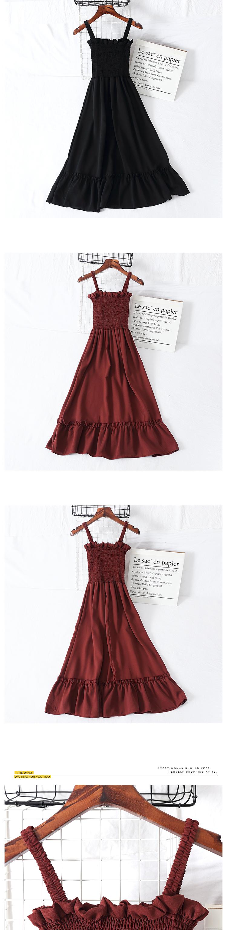 2018 Summer Sling Dress Ruffles Empire Long Dress Strapless Pink Dress Dress Female Party Gentlewoman Elegant Korean Style Cute 7