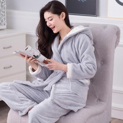 Mulheres Roupão de Banho dos desenhos animados Manter Quente Robe + Calças Camisola Com Capuz Robe Meninas Leisurewear Flanela Grossas de Inverno Senhoras Pijama Definido