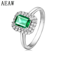 1.8CT Fine Jewelry Customized Collection Real 14K White Gold AAA Colombian Lab Created Emerald Gemstone Wedding Rings for women