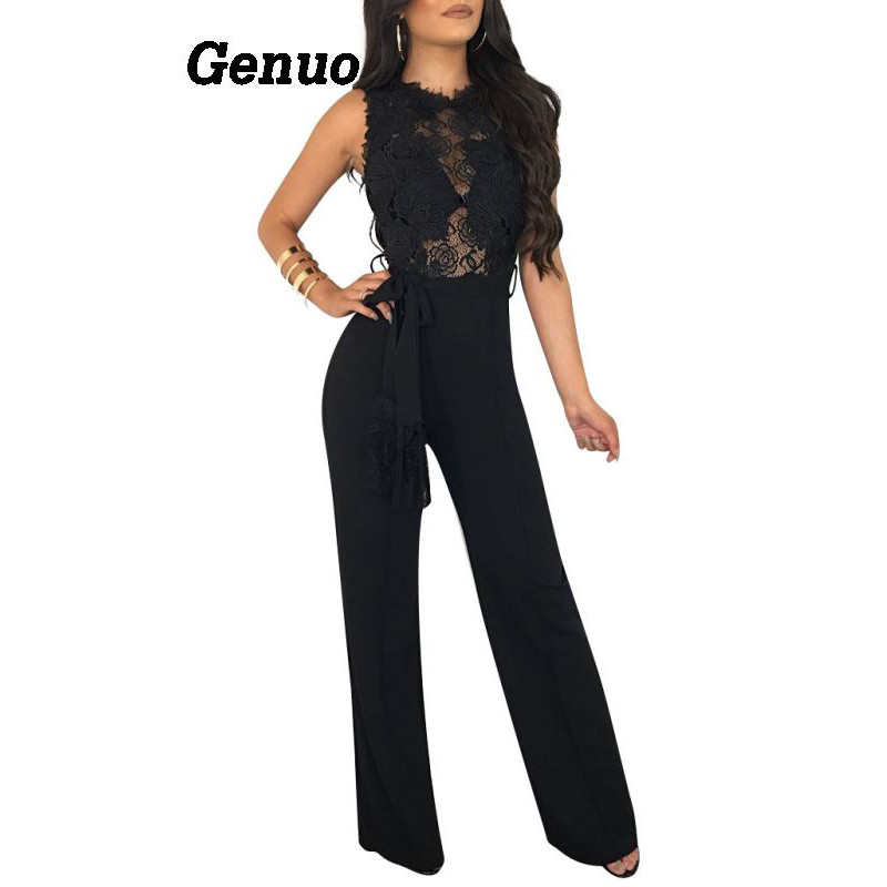52c757cafd1 Genuo Women Jumpsuit Rompers Vestidos 2018 Elegant Lace Sexy Sleeveless See  Through Playsuit Celebrity Night Club