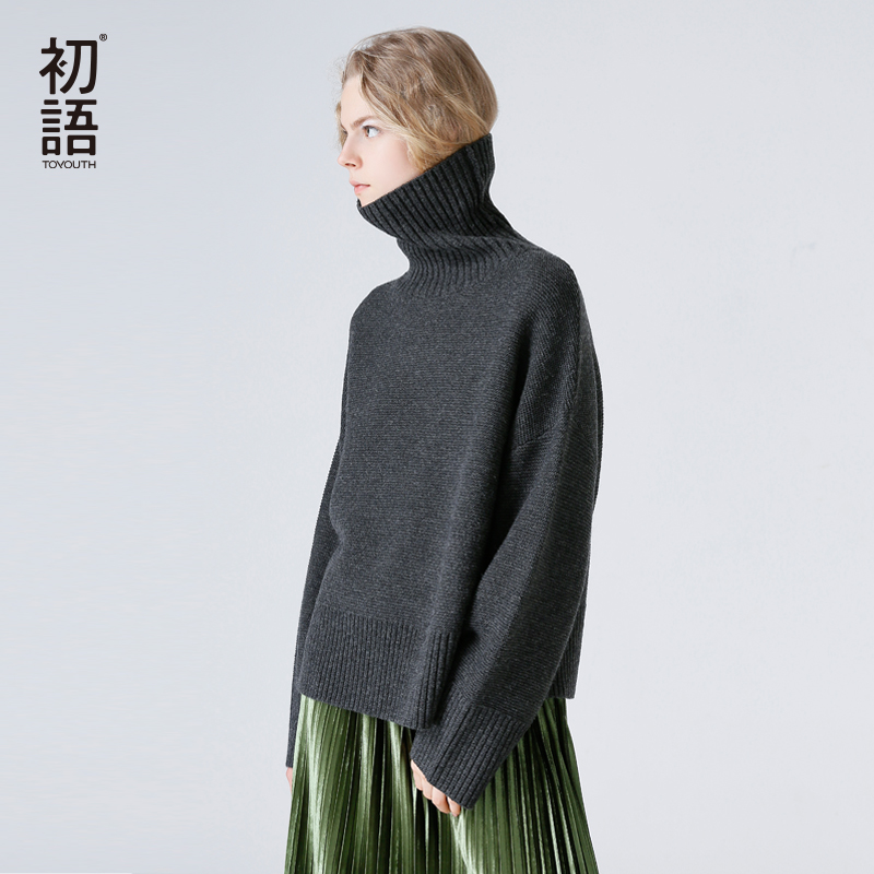 Toyouth Turtleneck Winter Knitted Sweater Women Flare Sleeve Loose Gray Pullover Female Soft Warm Autumn Casual Jumper Tops ryeon winter autumn sweater dresses big size women turtleneck long sleeve loose casual grey sexy pullover knitted sweater jumper