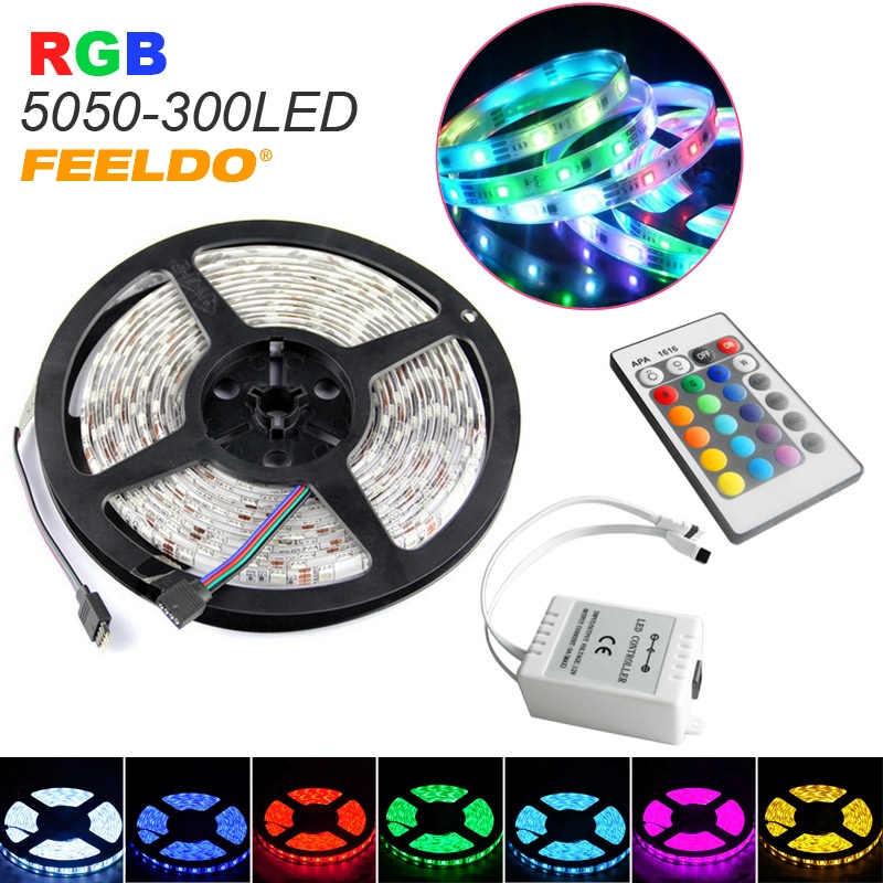 Feeldo 10pcs 500cm 5m 5050smd 300led waterproof car rgb led strip red green yelloworange blue red purpleviolet package included 1x 5m led strip lamp 1x 24k remote controller 1x ir fd00 aloadofball Choice Image