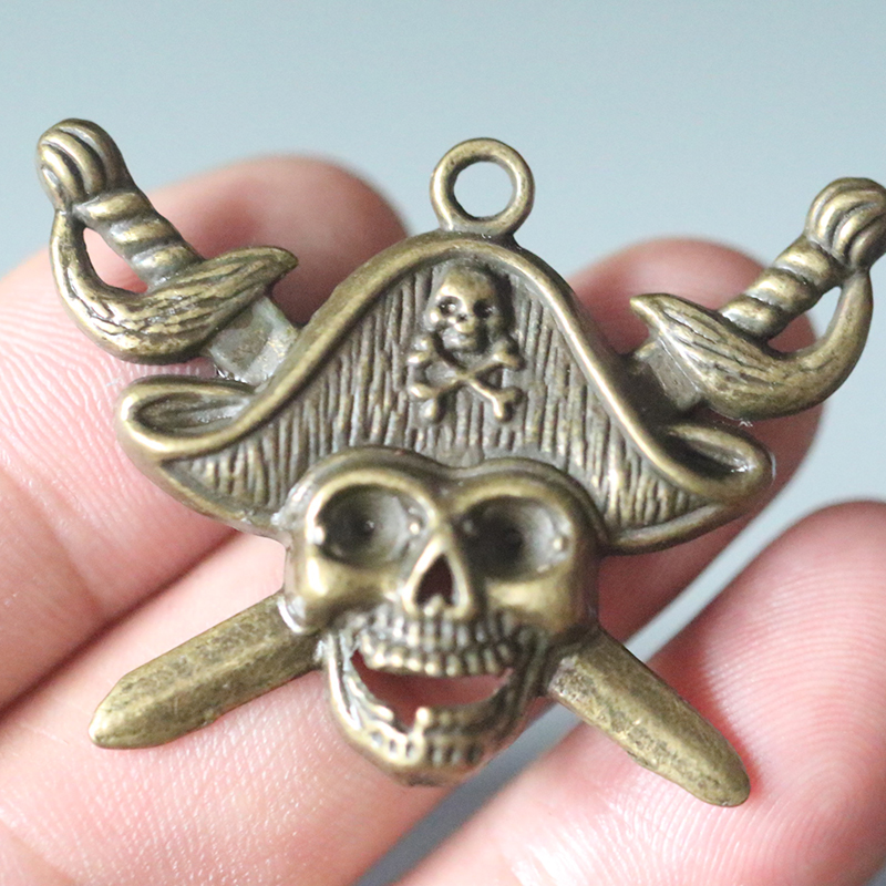 2PCS Bronze Pirate Pendant Charms For Making DIY Handmade Necklace Jewelry Accessories Vintage 45x34mm in Charms from Jewelry Accessories