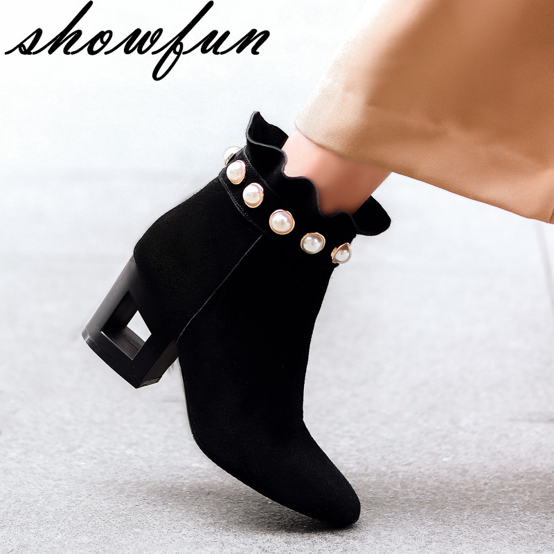 Womens Genuine Suede Leather Flounced Beading Ladies Med Heel Elegant Ankle Boots Brand Designer Fashion Short Bootes Shoes Hot