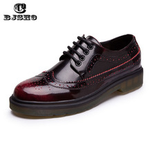 PLUS Size 36-44 Unisex Leather Flats British Brogue Oxford Shoes Women Flats New Spring 2017 Fashion Platform Flats Shoes Woman