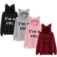 2019 Women Hoodies Sweatshirt Kawaii Pink Winter Cat Long Sleeve Moletom Hooded Sweatshirts Ear Hooed Loose fleece printing