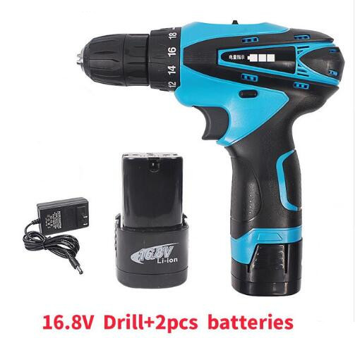 16.8V Two Speed Cordless Screwdriver Electric Drill Rechargeable 2pcs Lithium Battery Waterproof Hand LED Light|Electric Drills| |  - title=