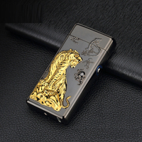 Usb Rechargeable Electric Arc Arc Lighters Personalized Cross Double Pulse Thin Windproof Tiger Electronic Cigarette