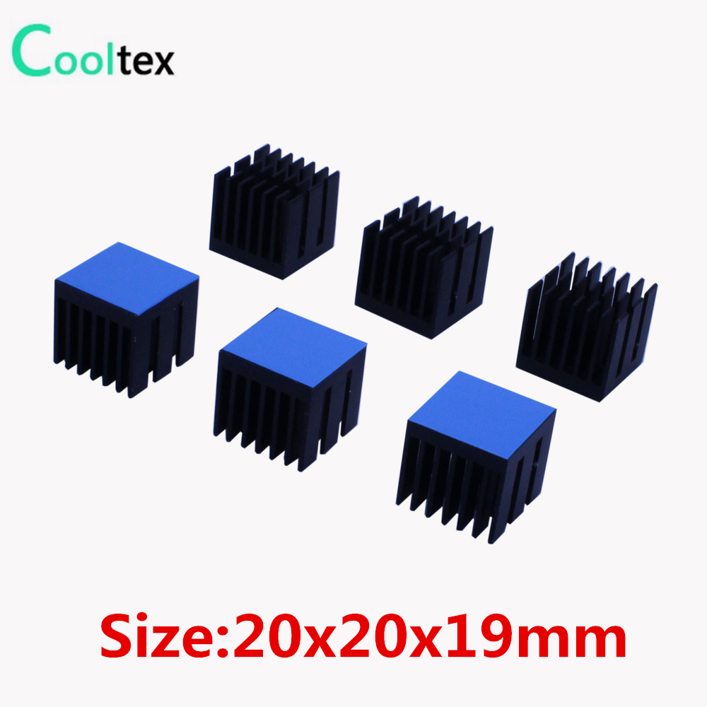 20pcs 20x20x19mm Aluminum Heatsink Heat Sink Radiator For Electronic Chip Cooling With Thermal Conductive Double sided Tape 20pcs lot aluminum heatsink 14 14 6mm electronic chip radiator cooler w thermal double sided adhesive tape for ic 3d printer