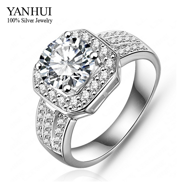 YANHUI nouvelle mode 2 carats simulé Diamant anneaux de mariage pour les femmes remplissage CZ or blanc anneau rempli bijoux de mode YR075