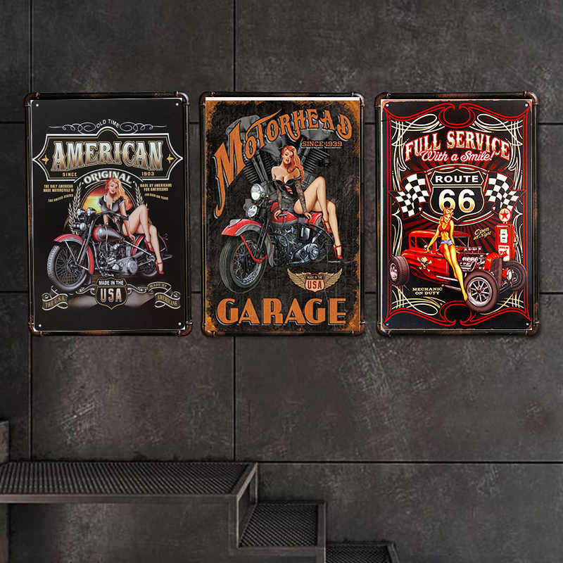 American Motorcycle Retro Plaque Wall Decor for Bar Pub Kitchen Home Vintage Metal Poster Plate Metal Signs Painting Plaque