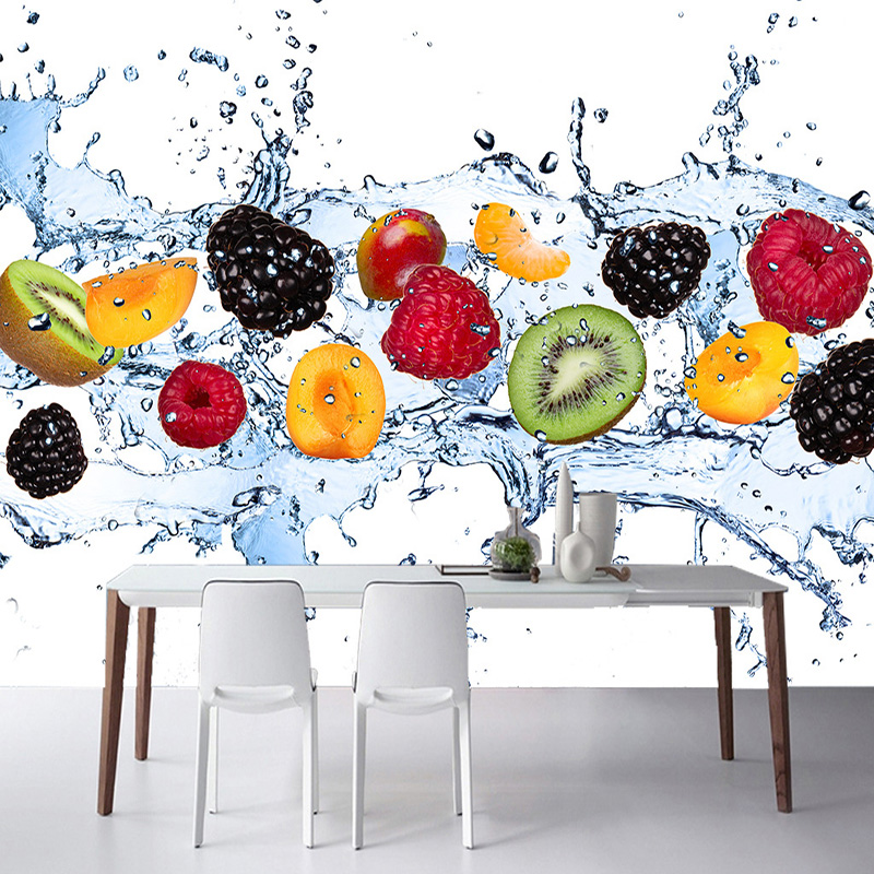 Modern Fresh Fruit Fall Into Water Photo Wallpaper Restaurant Cafe Simple 3D Stereo Mural Kitchen Eco-Friendly Papel De Parede