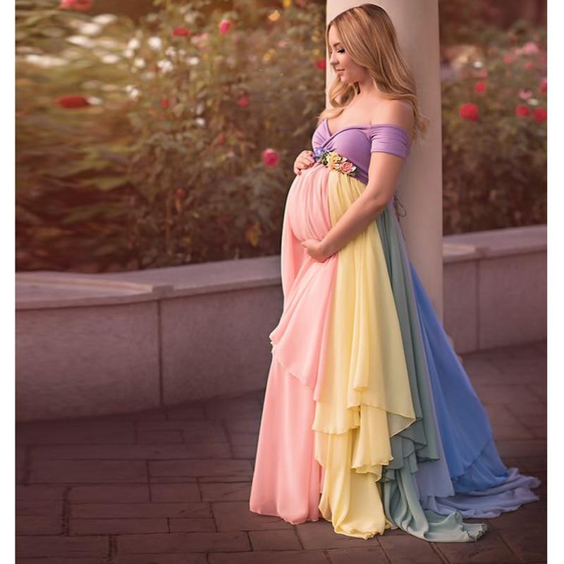 Mooie Mix Kleur Chiffon Lange Rokken Moederschap Ruches Modest Bloemen Zwangere Vrouwelijke Maxi Rok Voor Vrouwen Met Bloem Sash-in Rokken van Dames Kleding op  Groep 2