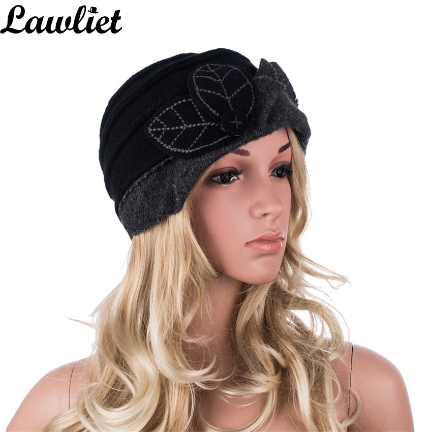 e3aeab347fb Women Winter Hat Leaves Ruched Effect Wool Beanies Hats for Women Cloche  Bucket Hats Ladies Hats