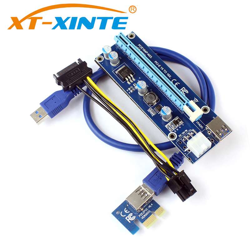 XT-XINTE PCI-E Express 1x 4x 8x 16x Slot Extender Riser Card Adapter Mining 6Pin DC-DC Power Cable for ETH Bitcoin Mining Device new usb3 0 008s pci e riser express 1x 4x 8x 16x extender riser adapter card sata 15pin to 6pin power cable dual power interface