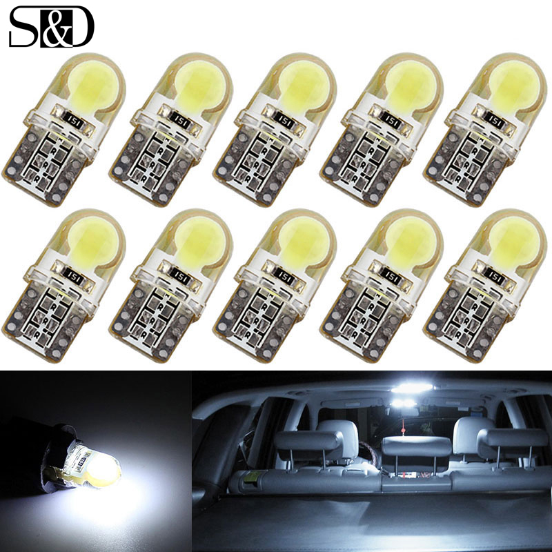 10Pcs Auto T10 Led 194 W5W LED Cold White 168 COB Silica Car Super Bright Turn Side License Plate Light Lamp Bulb DC 12V 4pcs super bright t10 w5w 194 168 2825 6 smd 3030 white led canbus error free bulbs for car license plate lights white 12v