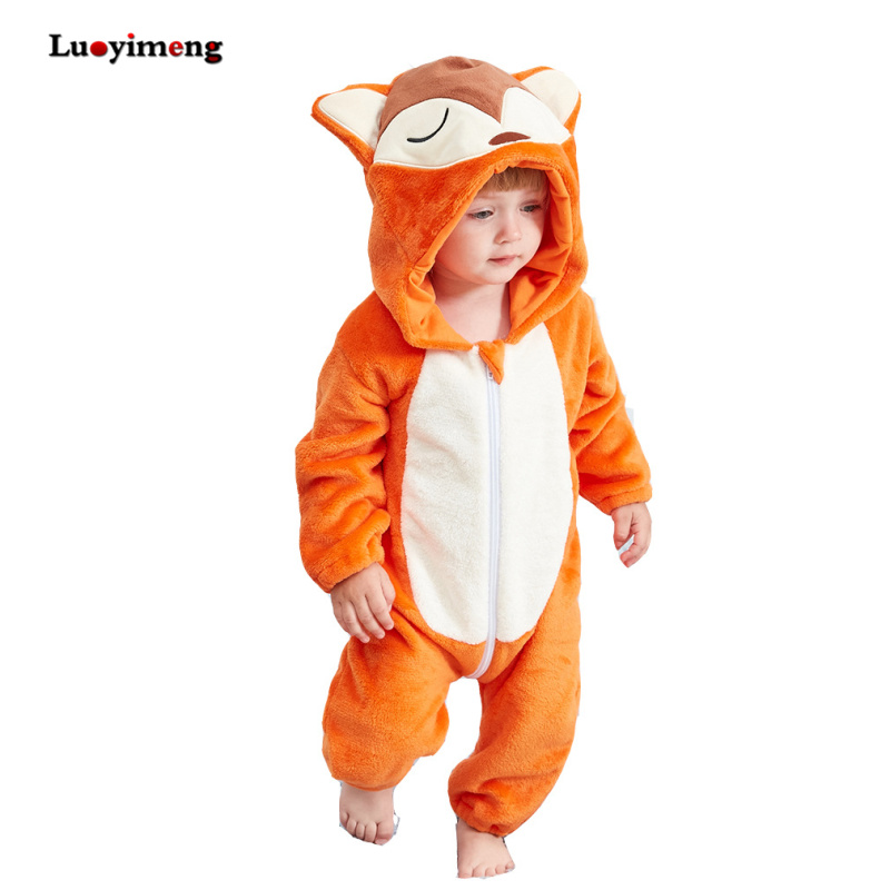 Baby Clothes Boys Girls Rompers Newborn Animal Cartoon Fox Jumpsuit Outfits Flannel Hooded Toddler Bebes Stitch Baby Costumes 2016 new jumpsuit hat shoes animal style cartoon warm hooded baby rompers winter boys girls clothes outfits newborn clothing