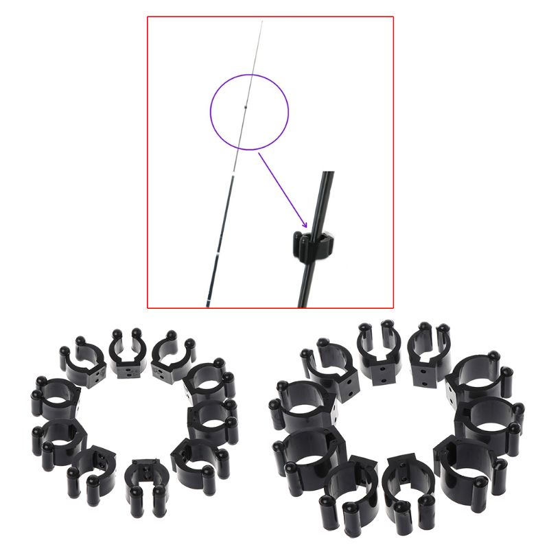 10Pcs//Set Fishing Rod Clip Billiards Pole Clips Rack Clamp Without Screws Tackle