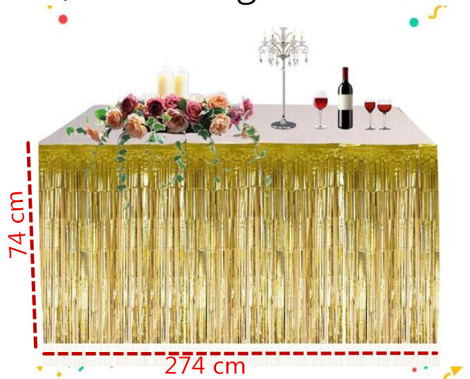 Metallic Foil Fringe Shiny Tassel Table Skirt Thickened Table Curtain For Wedding Birthday Party Home Decoration 74 * 274 Cm
