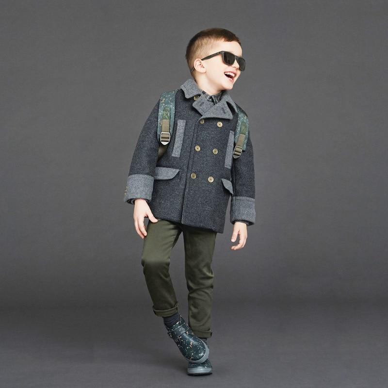 Special Design England Gentlmen Woolen Winter Boys Jacket Quality Warm Elegant kids Coat Fall Overcoats Children's Clothing one button design longline woolen coat