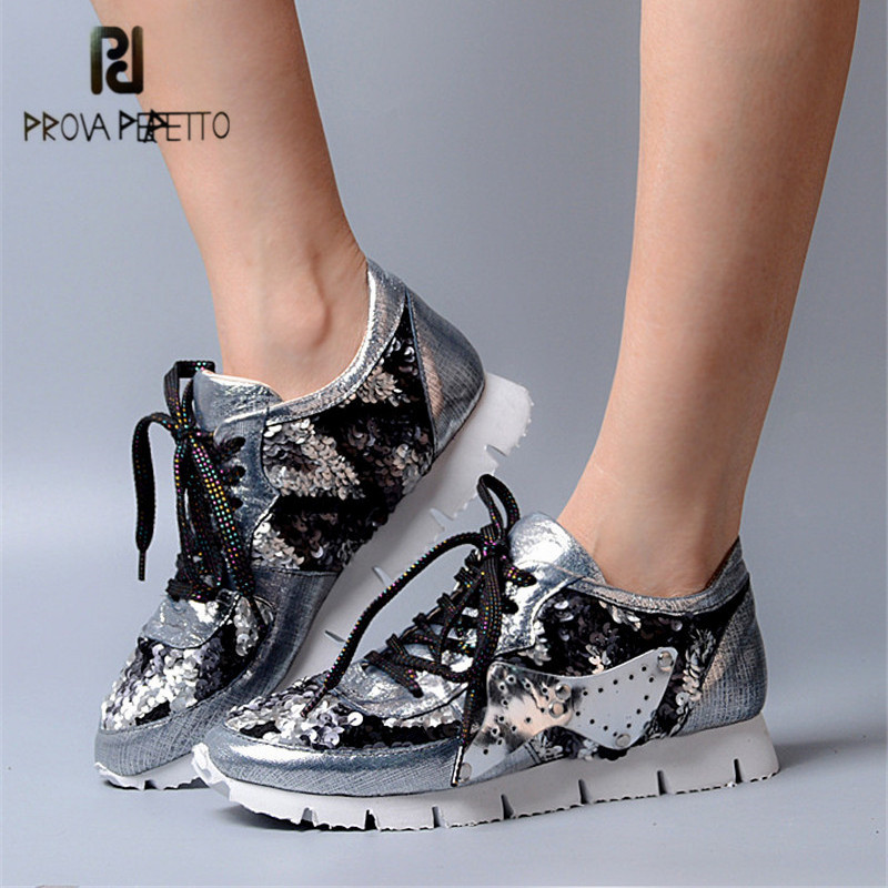 Prova Perfetto Bling Appliques Women Casual Shoes Lace Up Platform Shoes Woman Tenis Feminino Creepers Female Sneakers phyanic 2017 gladiator sandals gold silver shoes woman summer platform wedges glitters creepers casual women shoes phy3323