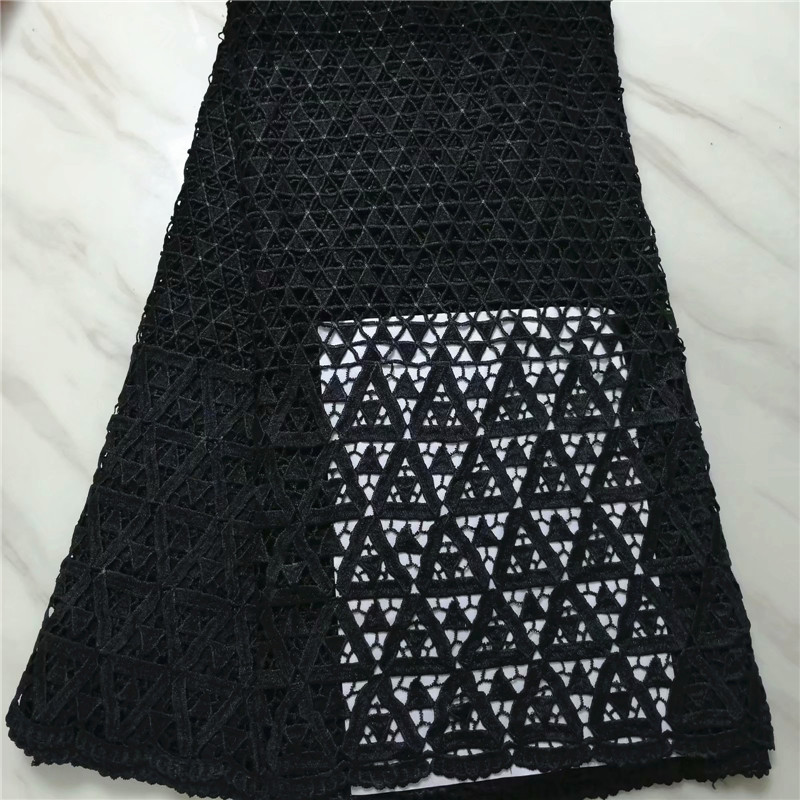 Black African Cord Lace Fabrics High Quality For Women Dress 2019 Latest Guipure Lace Fabric Nigerian