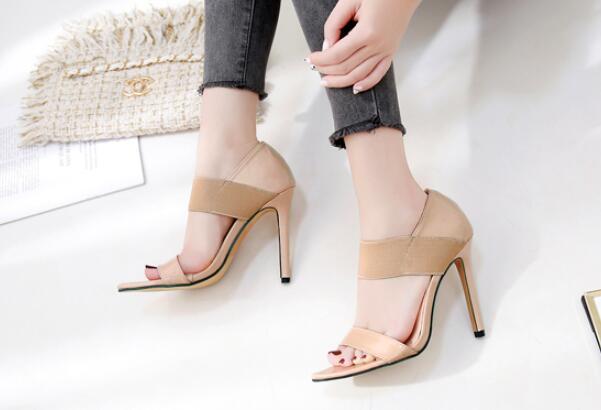 Zapatos Pointu Femmes Mince Hauts Cheville Mode Élastique A11043 Bande black Mujer De Apricot Dames Pompes D'été Chaussures Talons Sandales qHv7qrwp