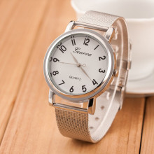 Model New Massive Easy Dial Males Stainless Metal Strap Lovers Basic Silver Quartz Watch Womens Basic Silver Geneva Clock