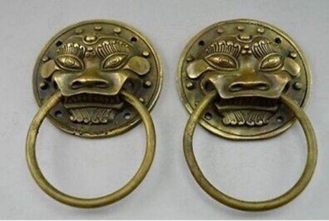 Китайский Старый Коллекционная Старый Ручная Медь Кованые Пара Дракон Дверной молоток большой украшения бронза заводские магазины