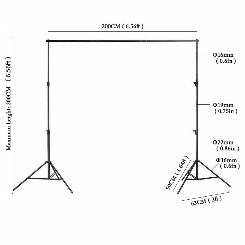 bilder für 2x2 mt Fotoausrüstung Schwarz hintergrund rahmen Manuelle Qualität Aluminiumrahmen Hintergrund Stand für foto studio