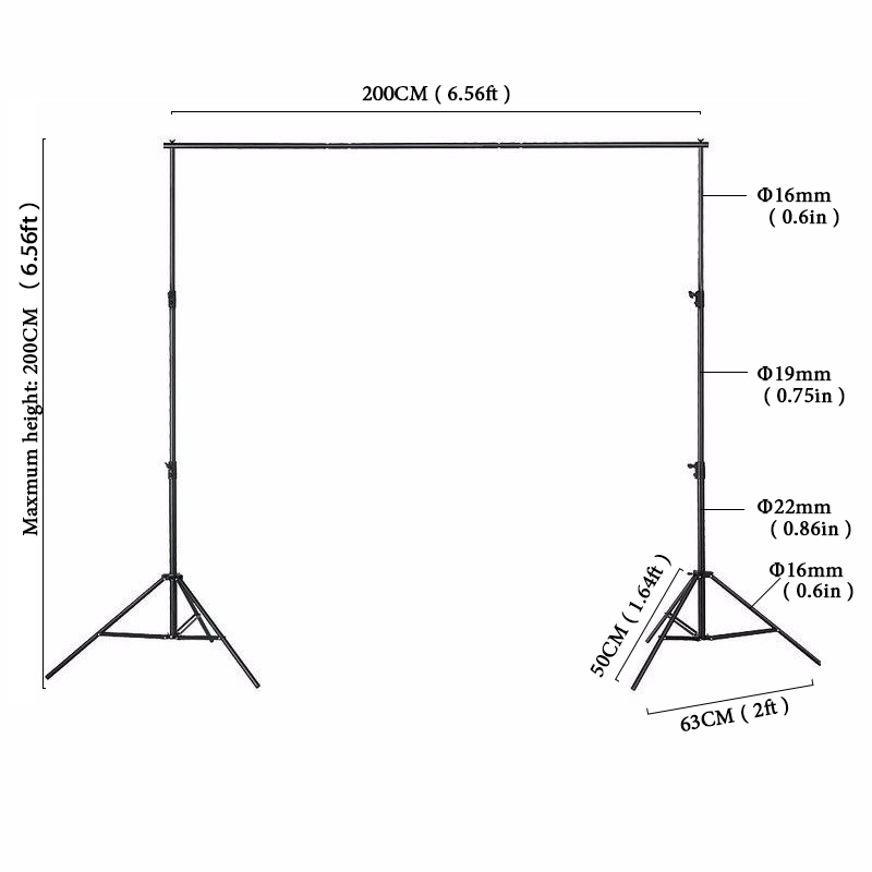2x2m Photographic Equipment Black background frame Manual Quality Aluminum Frame Background Stand for Photo Studio+Carry Bag kupo aluminum studio stand 360m