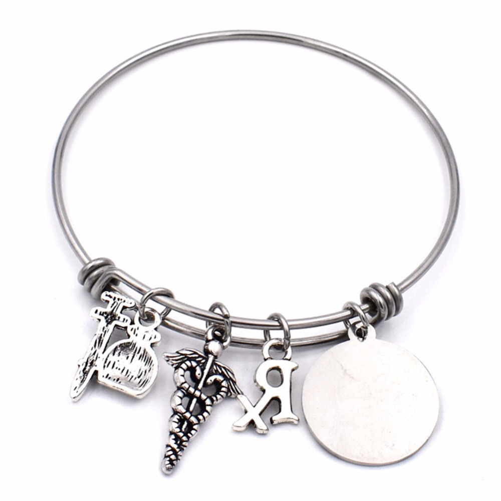BULK 10pcs Stainless Steel Pharmacy Pharmacist Charm Bangle She Believed She Could Medical Caduceus Bracelet Graduation Jewelry in Bangles from Jewelry Accessories
