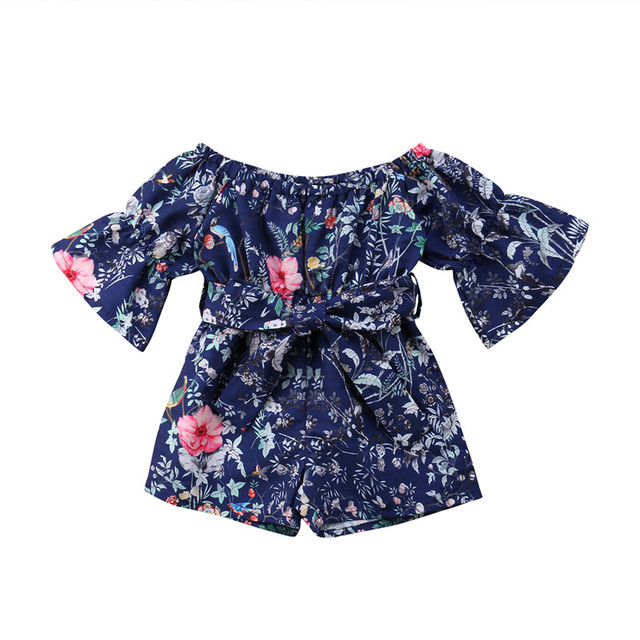 34160818bcb Summer Children s Jumpsuit Pretty Toddler Kid Baby Girl Off The Shoulder  Romper Floral Printed Navy Blue Jumpsuit Playsuit 6M-5Y