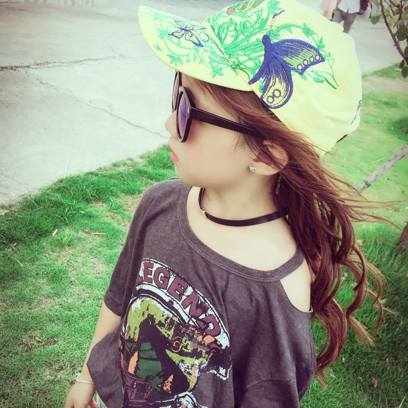 Kids Baseball Hat Cap Butterflies and Flowers Embroidery Cotton Caps Sport Casual Hats Snapback Cap Fashion for Boys Girls  2016 fashion kids cartoon snapback caps flat brim child baseball cap embroidery cotton cap baby boys girls peaked cap
