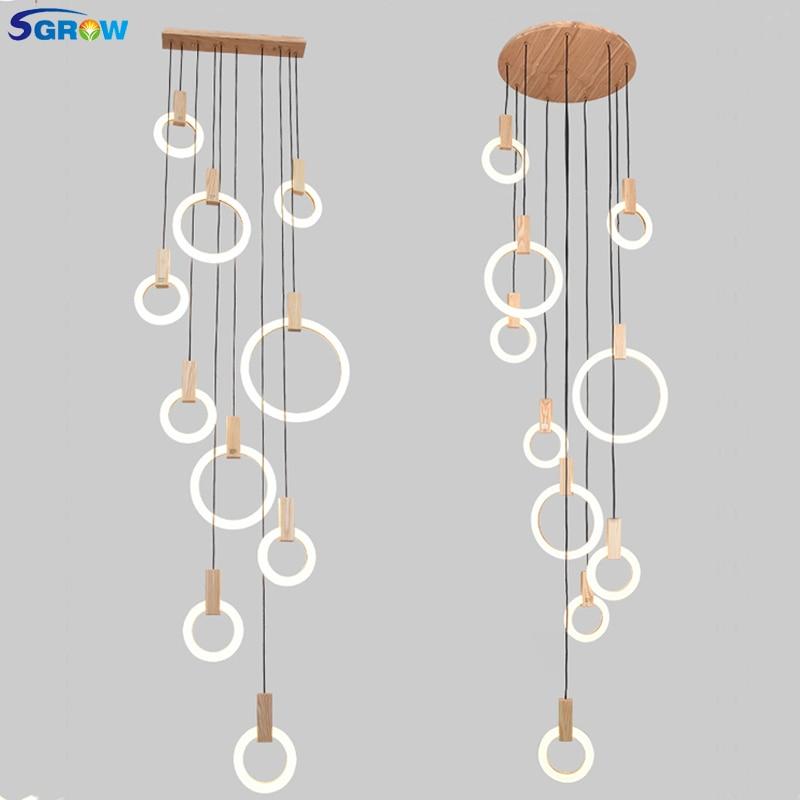 SGROW Acryliques Multiples Combinaisons de Bague Pendentif Luminaires 5/7/10 Têtes En Bois Suspendus Lampe Éclairage Intérieur pour salon