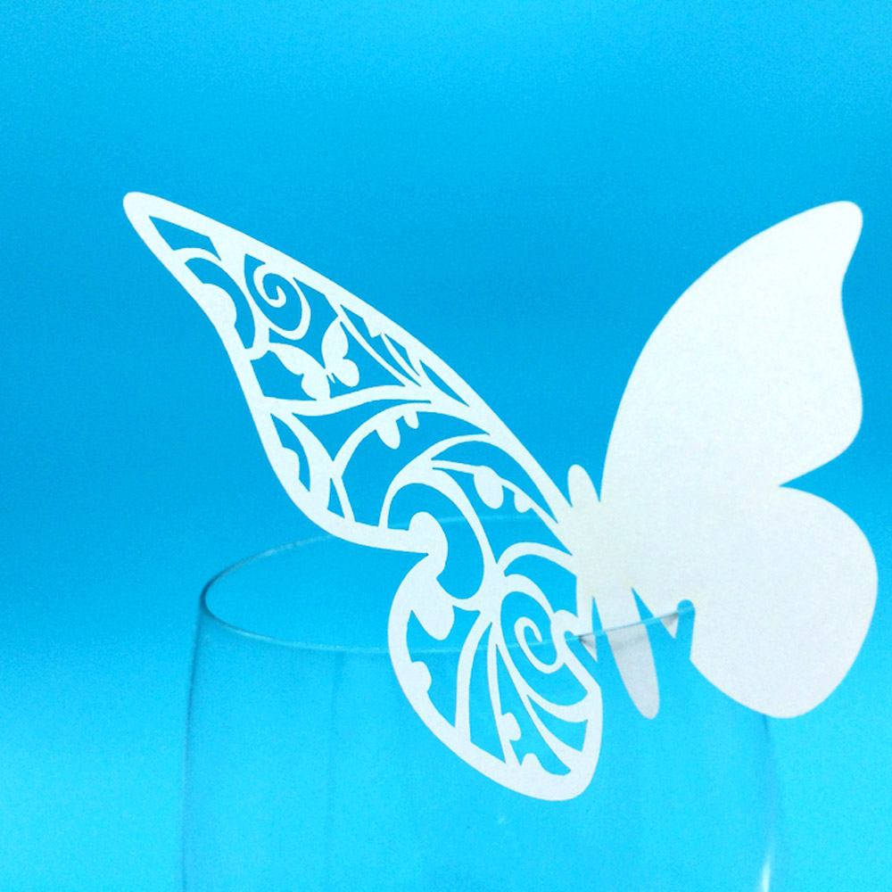 36pcs Romantic <font><b>White</b></font> Carved <font><b>Butterfly</b></font> <font><b>Wine</b></font> <font><b>Glass</b></font> Laser Cut Table Mark Iridescent Paper Name <font><b>Place</b></font> <font><b>Card</b></font> Wedding Birthday Party