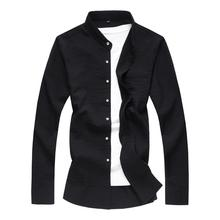 Stand collar Solid color Mens Long Shirt Plus size Clothing Slim fit Dress Shirts Loose Blouse New