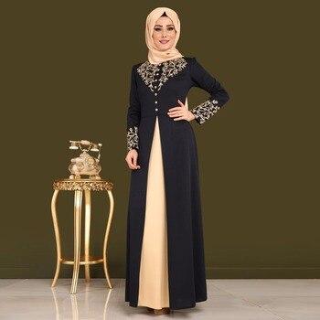 Robe musulmane mode unique boutonnage Doré