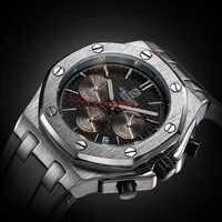 แบรนด์ใหม่ผู้ชายนาฬิกานาฬิกาควอตซ์สีเงินยางรัด3ATMน้ำทนC Hronograph Mensควอตซ์นาฬิกาข้อมือ