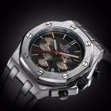 Relógio masculino de quartzo, pulseira de borracha prateada 3atm de profundidade com cronógrafo resistente à águawatches quartz watchewatch silverwatch brand