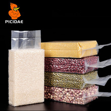 Stand Up Vacuum Food Saver Packaging Clear Plastic Bags Snacks Dry Fruit Beans Rice Package Heat Sealing Hermetic Storage Pouch