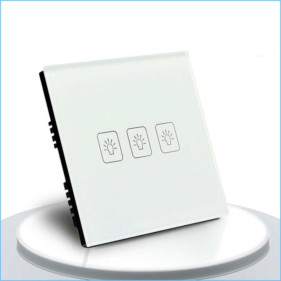 Standard Touch Switch, 3 Gang 2 Way Control, 3 Color Crystal Glass Panel,Wall Light Switch smart home eu touch switch wireless remote control wall touch switch 3 gang 1 way white crystal glass panel waterproof power