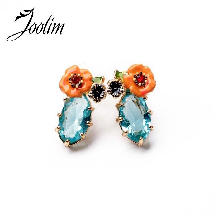 768cdea1a161 Joyería de JOOLIM al por mayor 2014 lindo romántico cristal diseño del  pendiente del perno prisionero de la flor pendiente encanto buena calidad